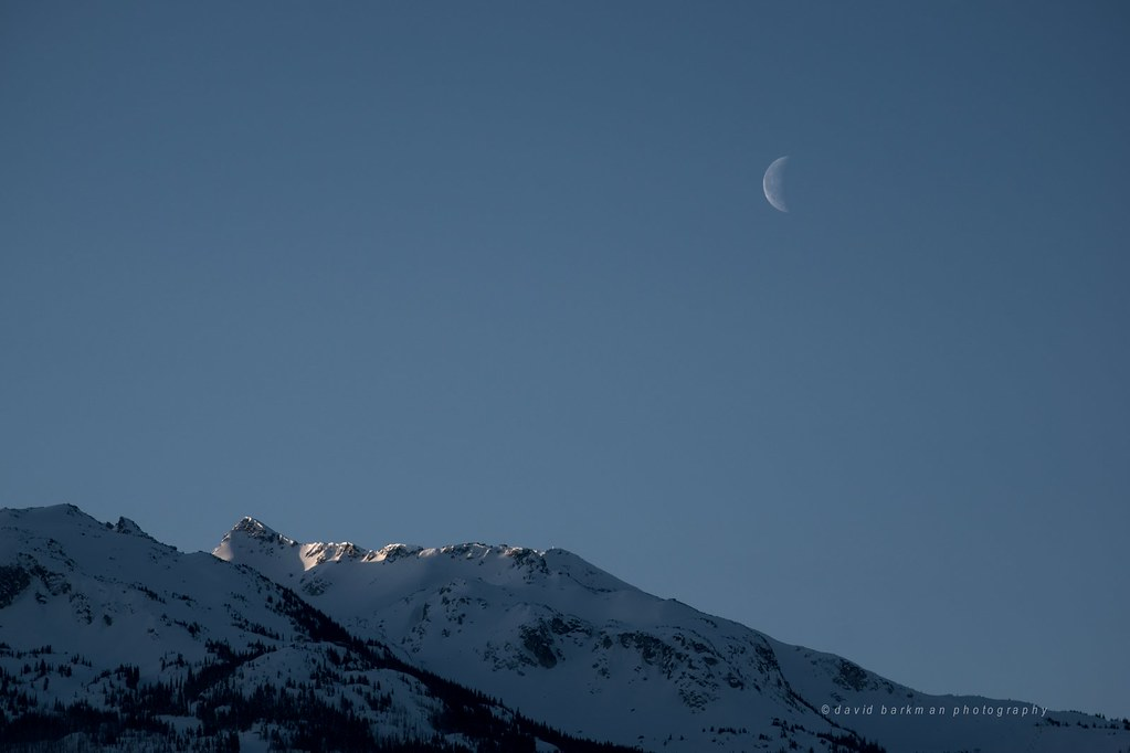 Crescent moon over Blackcomb