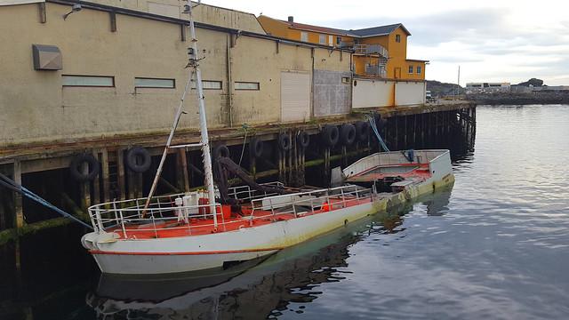 Sunken ship, Svolvaer, Lofoten, Nordland, Norway
