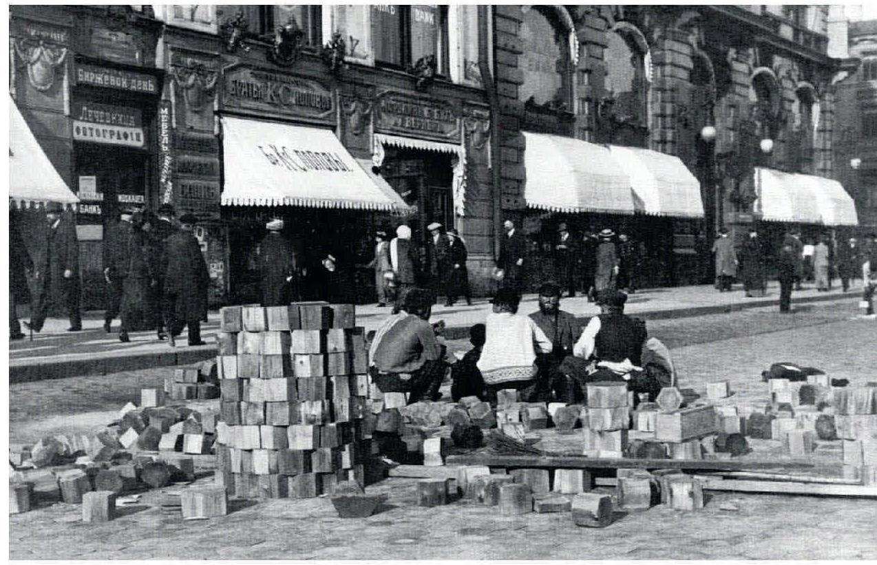 54. 1900-е. Ремонт торцовой мостовой на Невском проспекте