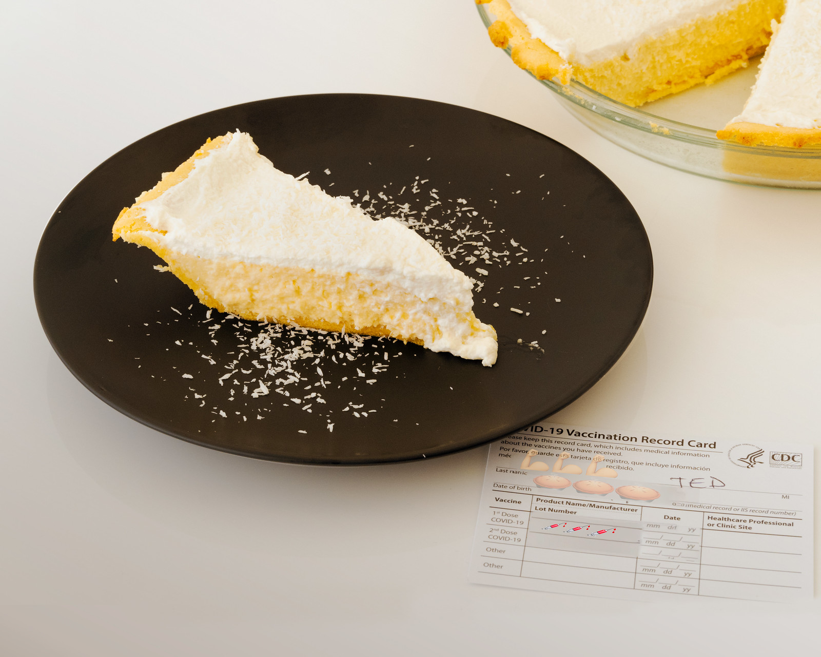 Photo Friday/Recipe: Low Carbohydrate, Healthy Fat Coconut Cream Pie w a side of COVID-19 vaccine