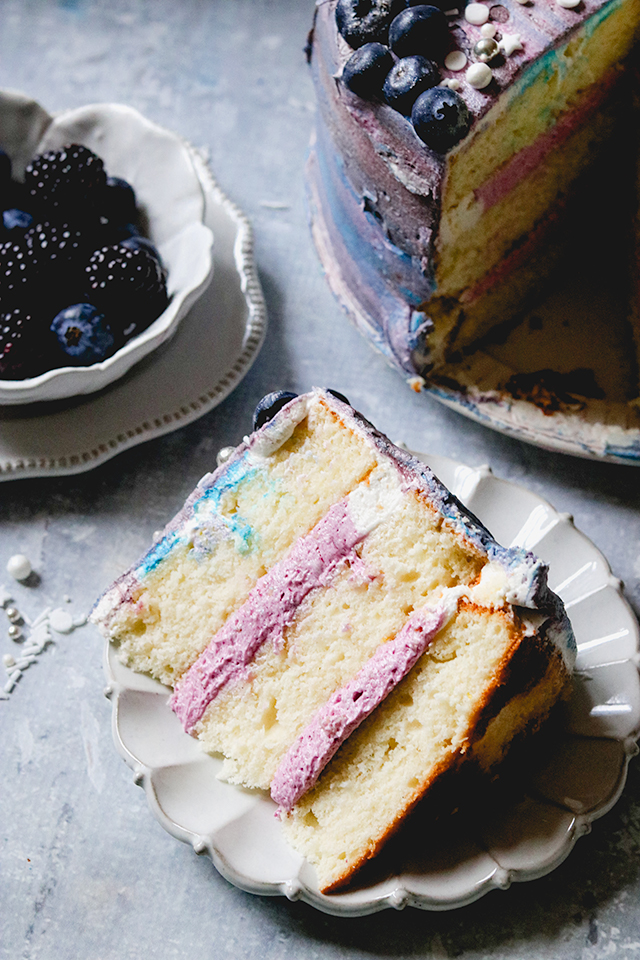 Blueberry Galaxy Cake {Lemon Layer Cake with Blueberry Buttercream}