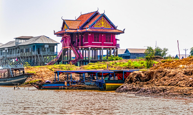 Wat Kampong Phluk Buddhist Temple  at  Kampong Phluk floating village in Cambodia.  735a