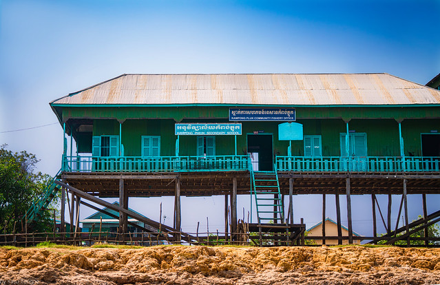 Secondary school and Fishery Office of the Kamoong Phluk floating village in Cambodia.  738-Edita