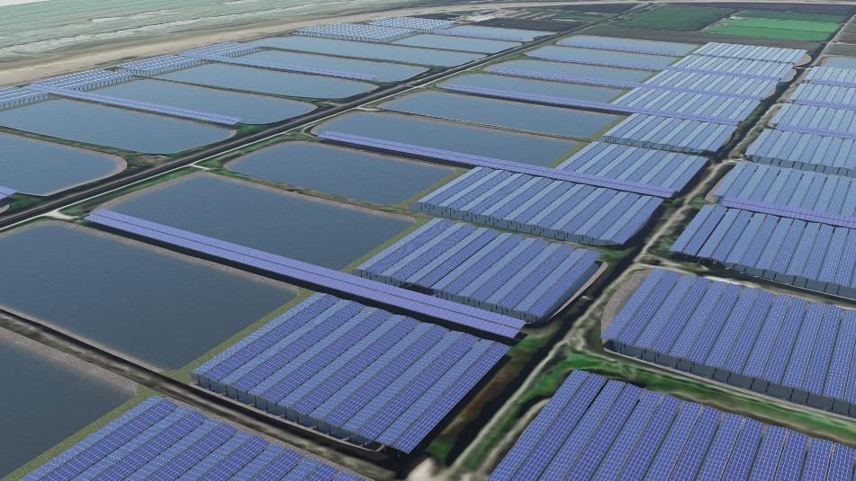 雲豹能源買下台南市北門區漁電共生案場,完工3D模擬圖。圖片來源:雲豹能源