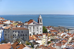 Alfama district in Lisbon, Portugal.It's one of the oldest districts of Lisbon and is a delightful maze of narrow cobbled streets and ancient houses..