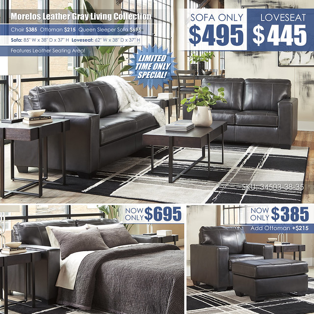 Morelos Leather Gray Sofa OR Loveseat_34503-38-35-T321