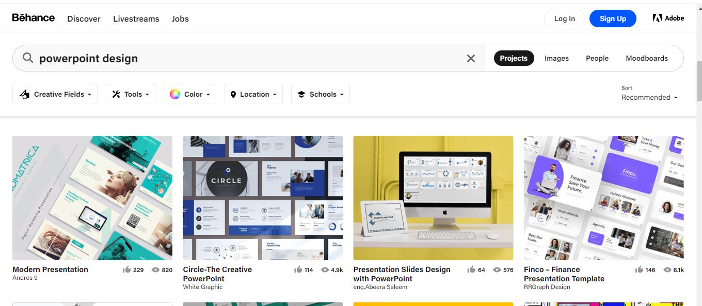 Behance adalah salah satu Website Inspirasi Desain Grafis yang menyediakan banyak ide kreatif.