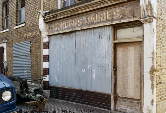 Morgan's Dairies, 631, Wandsworth Rd, Clapham, Lambeth, 1989,