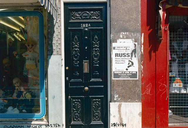 Door, 182, Clapham High St, Clapham, Lambeth, 1989,