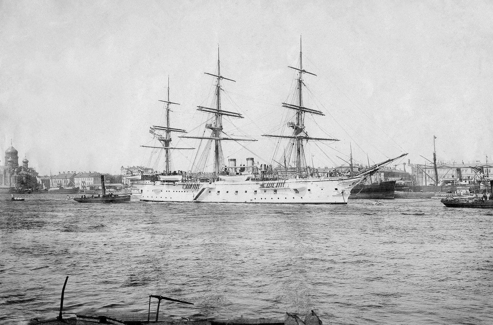 75. 1904. Учебный корабль императорского флота «Шарлотта» на Неве