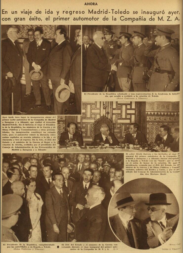 Inauguración del Automotor Madrid-Toledo el 25 de septiembre de 1935. Noticia en el diario Ahora al día siguiente.