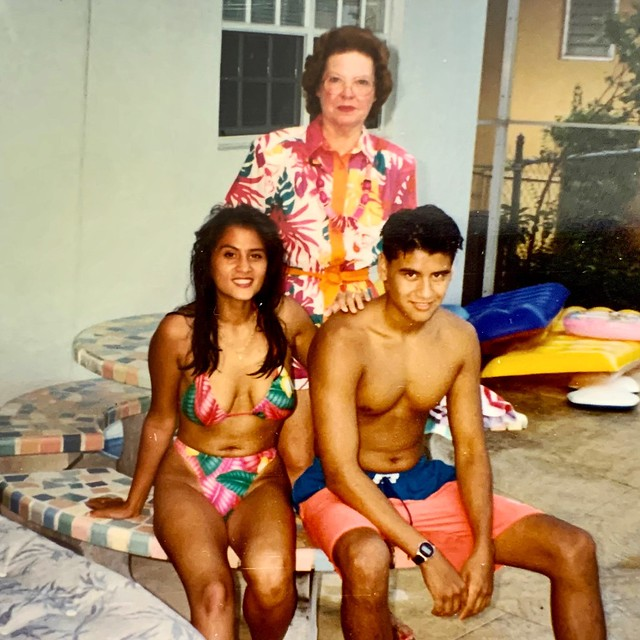 Oak Harbor 1991, swimming in Boyd's pool with Mom and Dean