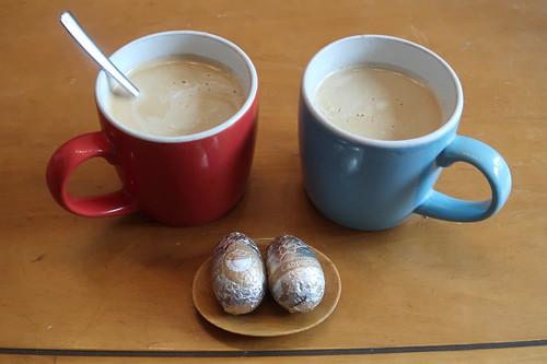 Cappuccino-Schokoladenostereier zum Nachmittagskaffee