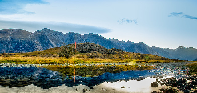 Mount Sunday (Edoras) dwarfed by the massive Southern Alps
