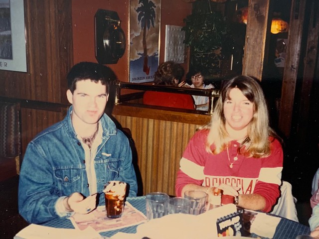 College 1988, family at dinner in Troy NY 2
