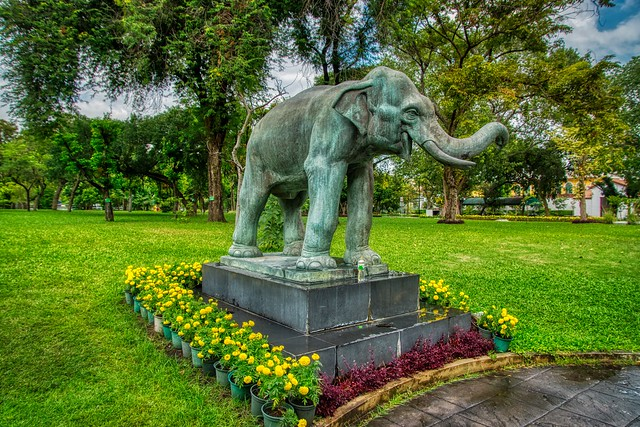 Elephant statue in Rommaninat Park on Rattanakosin island (Old Town) in Bangkok, Thailand