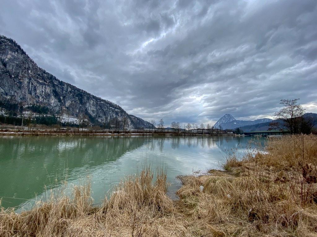 River Inn and Pendling mountain under a cloudy sky in Kiefersfelden in Bavaria, Germany