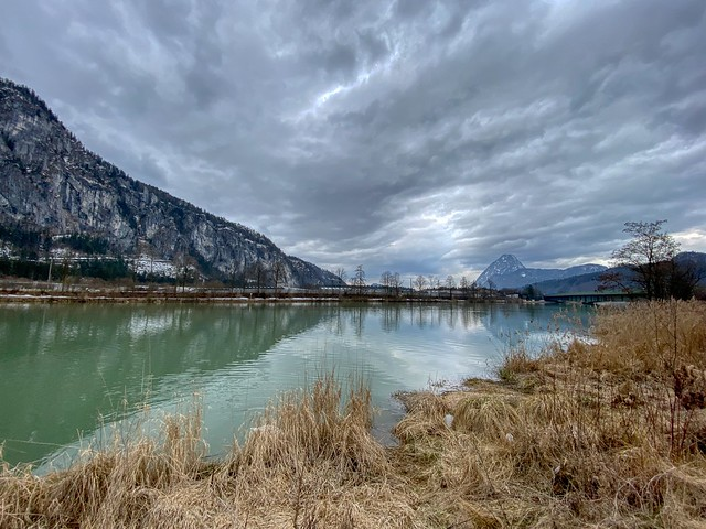 River Inn and Pendling mountain under a cloudy sky in Kiefersfelden in Bavaria, Germany