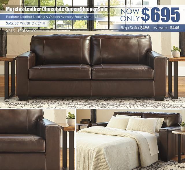 Morelos Leather Chocolate Sleeper Sofa_34502-38-SET
