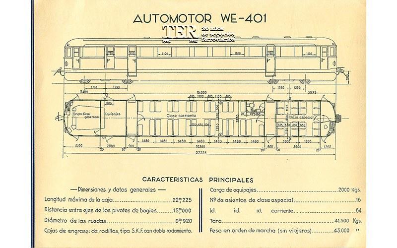 Automotor Madrid-Toledo, modelo WE-401. Fundación de los Ferrocarriles Españoles