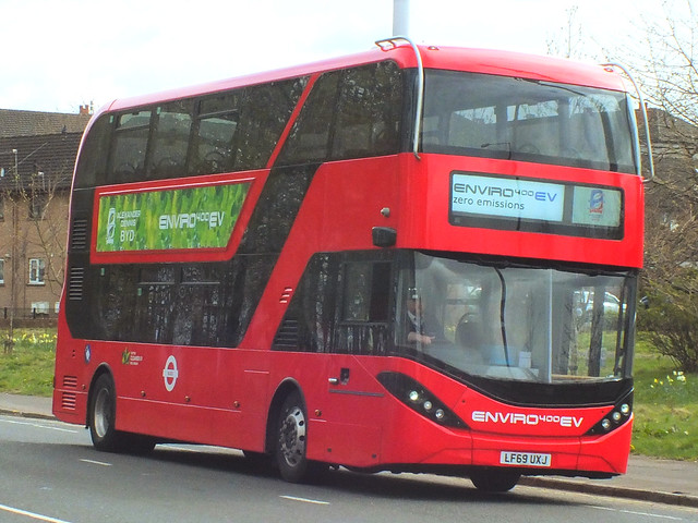 LF69UXJ Alexander Dennis Enviro 400EV City on test with First Glasgow