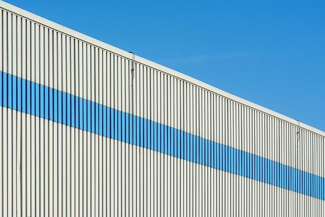 Facade with blue stripe