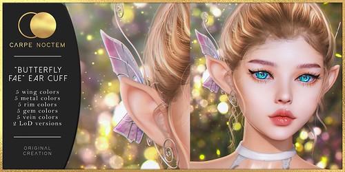 """Carpe Noctem. """"Butterfly Fae"""" Ear Cuff"""