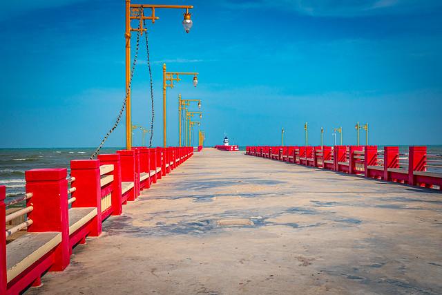Red pier of Prachuap Khiri Khan province, Thailand