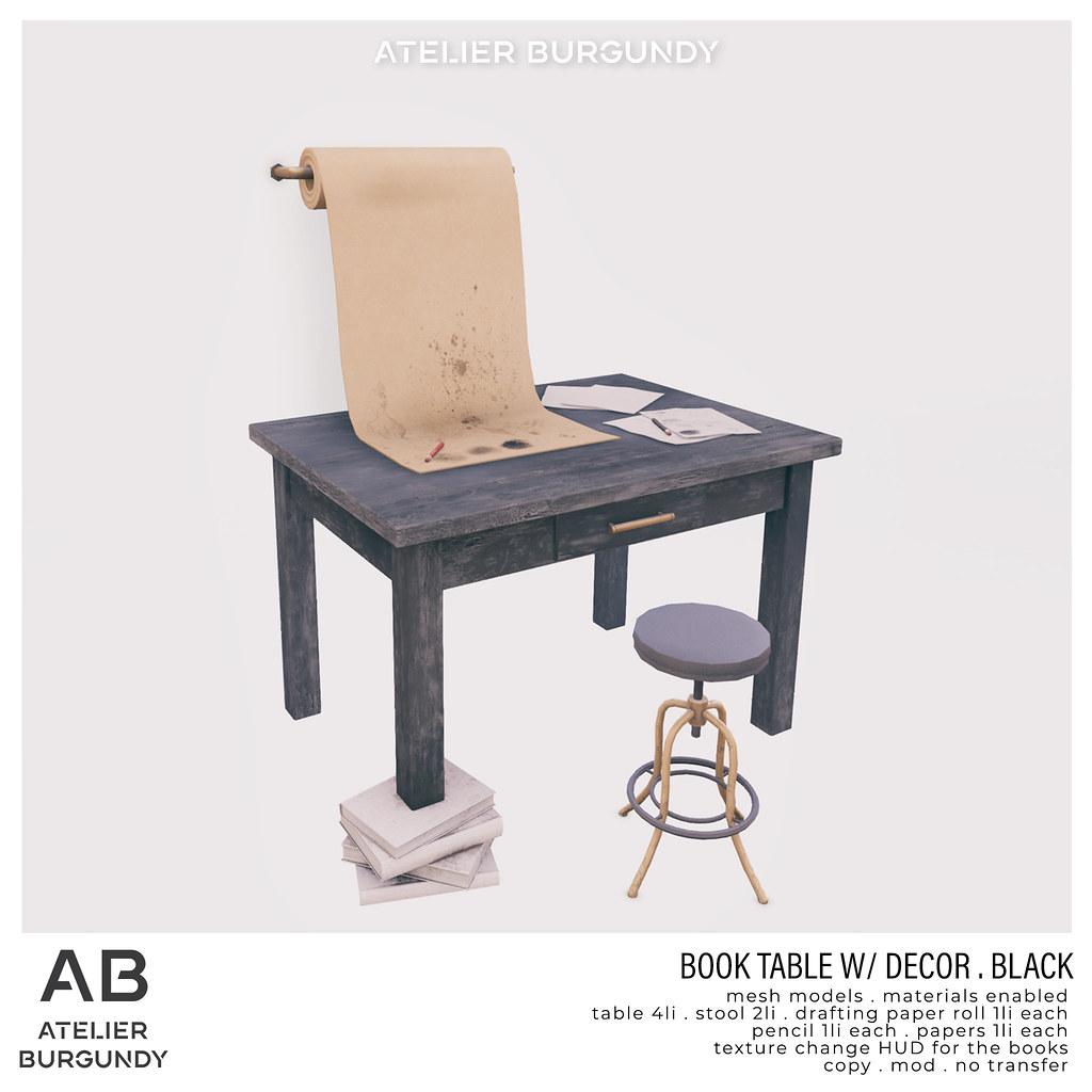 Atelier Burgundy . Book Table . Black