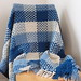 Blue and White Crocheted Woven Afghan
