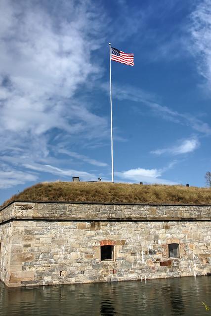 Old Glory Flies Above the Moat Wall-Historic Fort Monroe-Hampton Virginia 05211