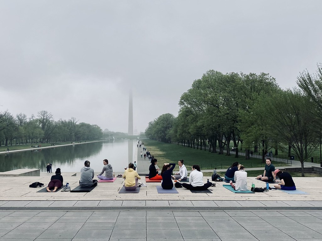 yoga on a foggy morning in DC