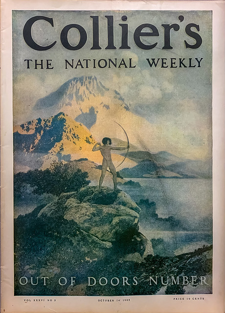 """""""Collier's:  The National Weekly,"""" Vol. 36, No. 3 (October 14, 1905).  Out of Doors Number. Cover art by Maxfield Parrish."""