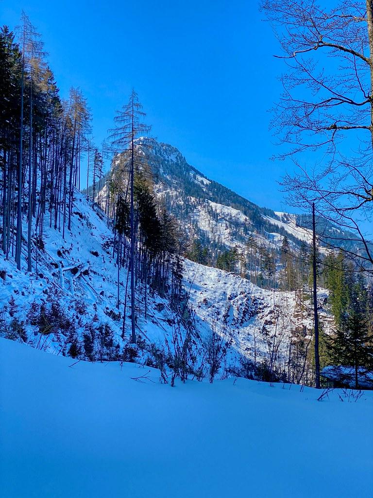 Brünnstein mountain in winter seen from Schwarzenberg mountain near Oberaudorf in Bavaria, Germany