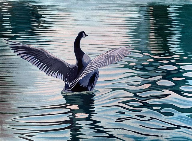 Acrylic painting - Kingston upon Thames Goose