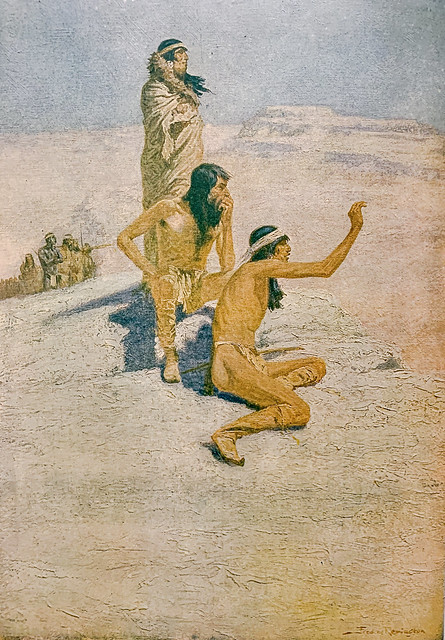 """""""The Great Explorers, I—Cabeca de Vaca in the Desert,"""" painted by Frederic Remington.  First published in Collier's, October 14, 1905"""