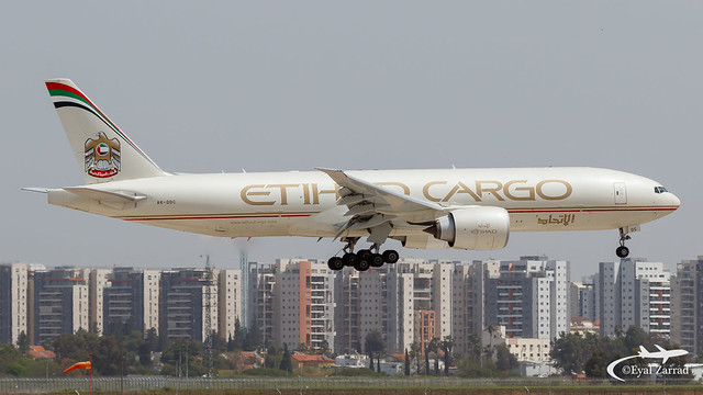 TLV - Welcome ! Etihad Cargo Boeing 777-200F A6-DDC