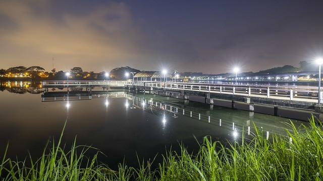 Dawn at Fishing Deck of Lower Seletar Reservoir