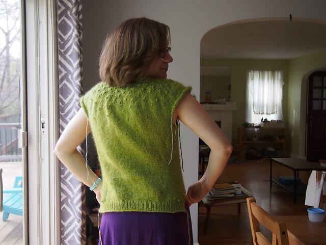 sweater progress - back hem finished!