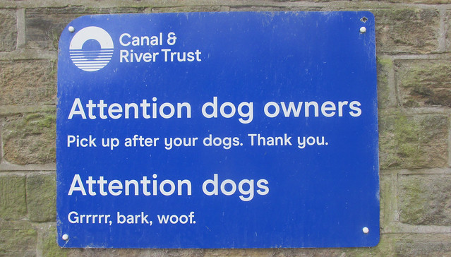 Sign alongside the canal.