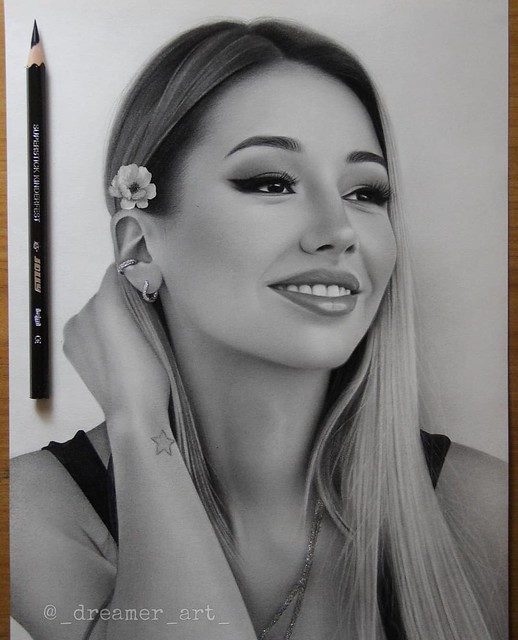 Realistic Portrait Pencil Drawing Woman by Noxchi Yu
