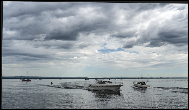 Boats on Moreton Bay during a cloudy day=
