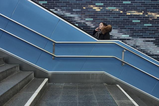 On the blue escalator