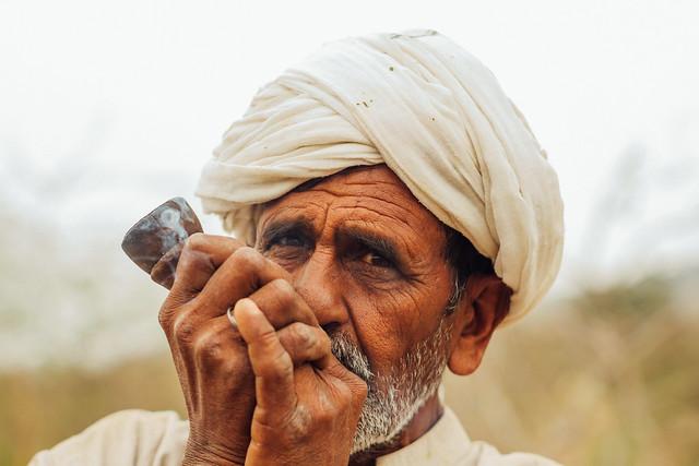 Man in Turban Smoking Chillum, Katha Masral Pakistan