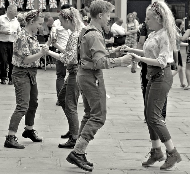Uniformed dancing on Market Square, Preston