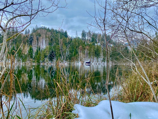 Lake Egelsee with beautiful reflections in winter in Tyrol, Austria