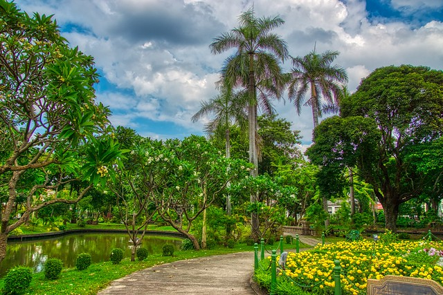 Saranrom Palace Park on Rattanakosin island (Old Town) in Bangkok, Thailand