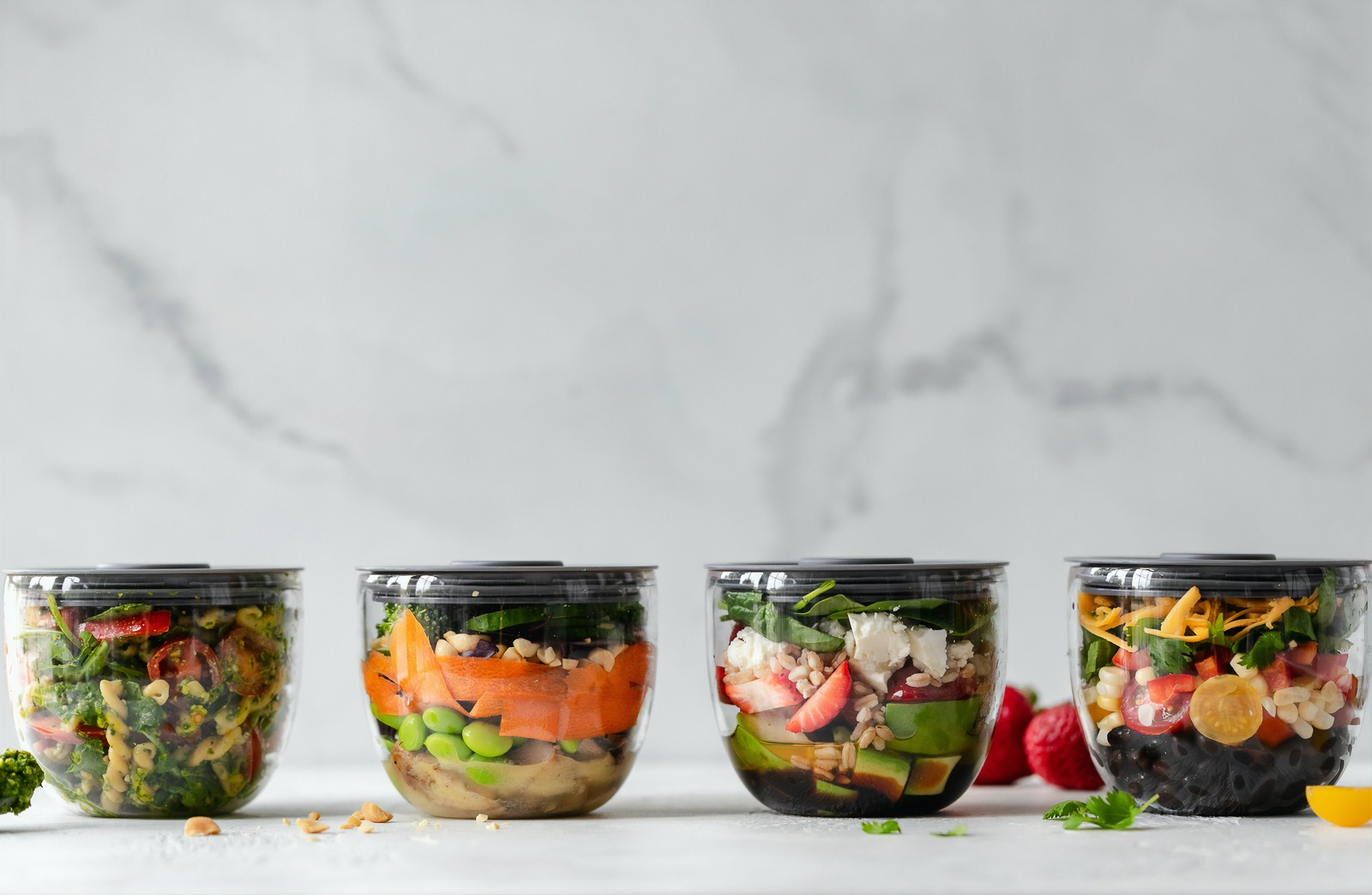 Tubs of healthy food meals
