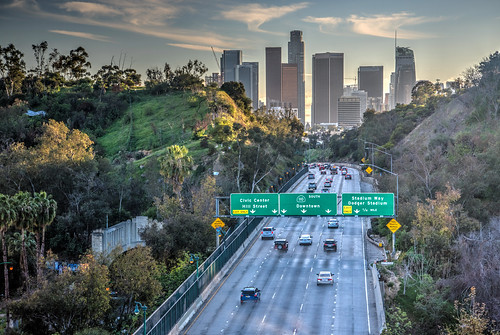 la losangeles skyline highway sunset california ca cali city cityscape sun landscape road