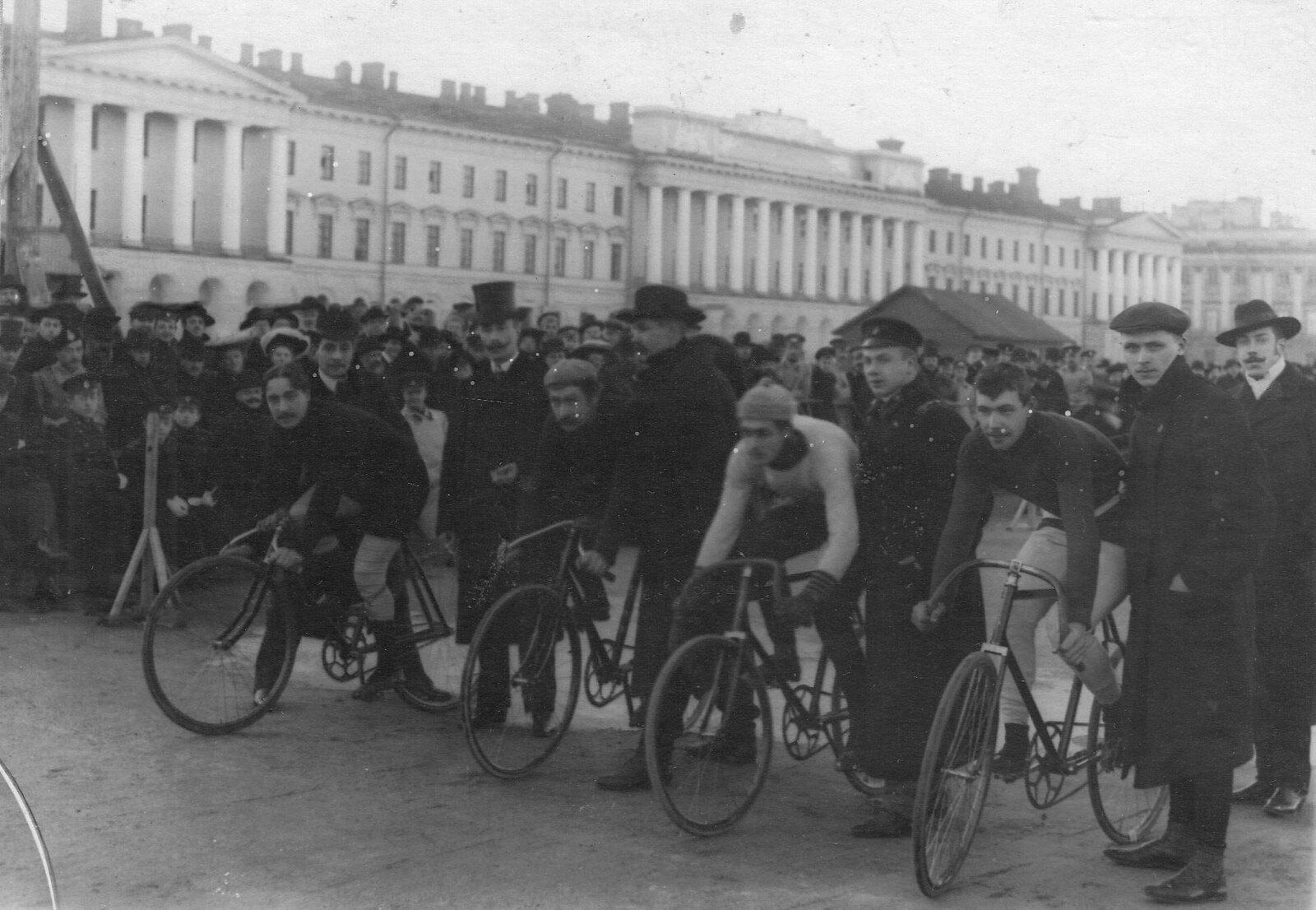 91. 1908. Старт велосипедной гонки на Марсовом поле